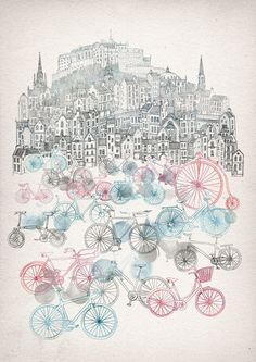 Old Town Bikes Art Print by David Fleck