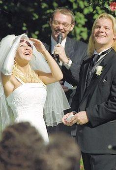 Chris Irvine (WWE Chris Jericho) and Jessica on their wedding day, 2000