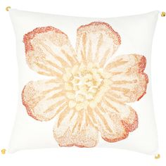 Bring the airy feel of spring into a room even in winter with this peach-flower-print throw pillow. The pillow has knife edging and small decorative touches on each corner as a finishing touch for a designer look appropriate for any room.