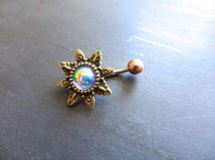 Blue Rainbow Mirrored Glass Opal Starburst Belly by Azeetadesigns