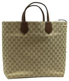 84c941f9406 The Gucci 370823 Ramble Reversible Leather Original Nut Brown   New Sand  Leather   Gg Canvas Tote is a top 10 member favorite on Tradesy.