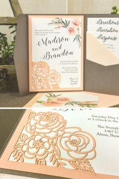 Stunning LASER cut out POCKETfold for DIY wedding invitations 30