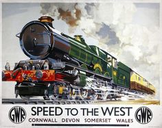 Mixed Media - Speed To The West - Great Western Railway - Locomotive - Retro Travel Poster - Vintage Poster by Studio Grafiikka ,