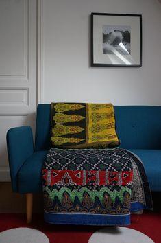 Couvre lit, bouti, plaid ou jeté de lit vintage 69 bohème chic