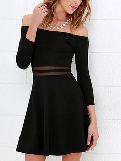 Black Off Shoulder Mesh Panel Mini Dress #afflink