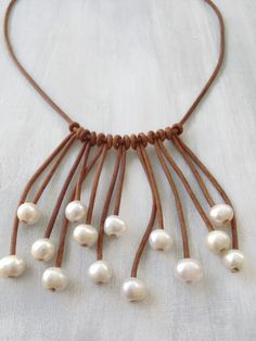 Leather pearl necklace leather and pearls pearls by Carolinelenox