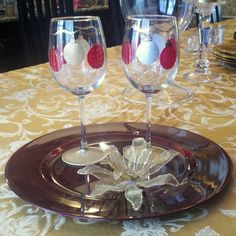 Christmas balls hand painted wine glass by GlassesbyJoAnne on Etsy, $20.00