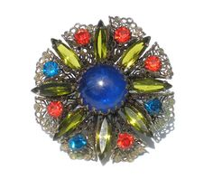 Bright & Colorful Flower Brooch with Art Glass by RibbonsEdge