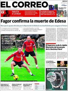 Los Titulares y Portadas de Noticias Destacadas Españolas del 13 de Noviembre de 2013 del Diario El Correo ¿Que le pareció esta Portada de este Diario Español?