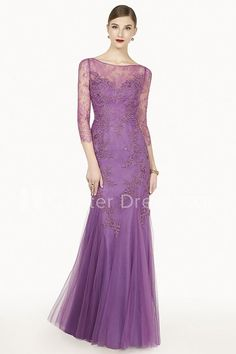 $117.49-Modest Illusion Tulle Purple Long Prom Dress With 3/4 Sleeves. http://www.ucenterdress.com/embroidered-illuion-3-4-sleeve-tulle-long-prom-dress-with-appliques-pMK_301345.html.  Free Shipping & Free Custom Made! Buy cheap prom dresses, party dresses, night dresses, maxi dresses, little black dresses, junior prom dresses, girls prom dresses, designer prom dresses for sale. We have great 2016 prom dresses on sale at #UcenterDress.com today!