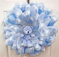 Baby Boy Geo Mesh Wreath - Deco Mesh Wreath - New Baby Wreath - Door Wreath New Baby Wreath, Baby Wreaths, Baby Kranz, Tulle Wreath, Door Wreath, Baby Shower Deco, Wreath Crafts, Wreath Ideas, Deco Mesh Wreaths