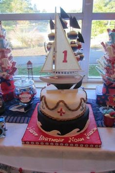 Anchors Away at This Red White Blue Nautical Theme First Birthday Party