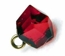Antique Victorian GARNET RUBY Red Faceted GLASS Charmstring BUTTON Rare Shape!