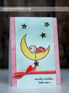 2017  #GDP068 Baby Card using NEW Moon Baby - with Michelle Last    Moon Baby Clear-Mount Stamp Set – 143085