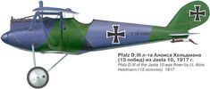 Pfalz D.III Unit: Jasta 10 Serial: 1395/17 Pilot - Lt.Alois Heldmann (15 victories). In 1917. The camouflage consisted of fields of dark-gre...