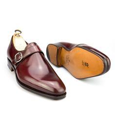 zapatos pala lisa con hebilla en cordovan burdeos