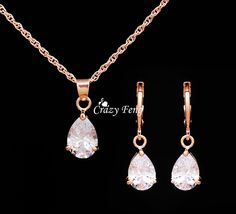 1.45$  Watch now - Trendy Free Shipping Wedding Jewelry Sets Necklace Earrings  Rose Gold Color Women Heart Pendant Necklace CZ Crystal   #aliexpress