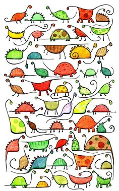 This is a giclee art print … – Architecture and Art 50 whimsical, curious dinosaurs. This is a giclee art print …, Doodle Drawings, Easy Drawings, Doodles, Dinosaur Art, Stick Figures, Cat Art, Art Lessons, Painted Rocks, Art For Kids