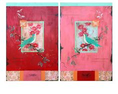 """Belonging I & II,"" diptych, 36 x 24"" each www.kathefraga.com Kathe Fraga paintings 2014 Inspired by vintage Paris and Chinoiserie ancienne"