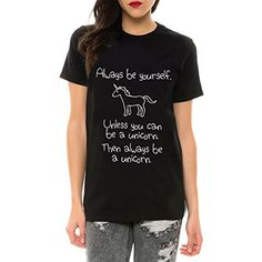 Dixperfect Womens Funny T-Shirt Graphic Print Casual Tees (XL, BK2)