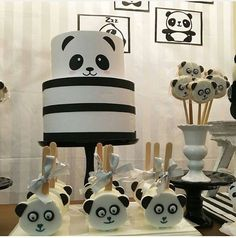 Panda cake, pops,and nice table display.