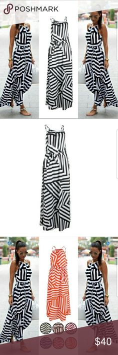 "✨NEW✨Summer Boho Maxi Dress black/white Summer Boho Maxi Dress black/white. Material:Polyester. The sizes are as follows: Small=8 Medium=10 Large=12. These have an elastic waist band so there is wiggle room. There is a pic to show other colors. Let me know what colors you may be interested in and don't forget to tap on ""LOVE IT"" so you have updates when items arrive. Happy Poshing. Dresses Maxi"