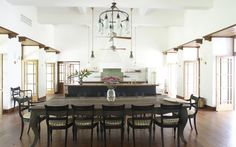 The actress, who spent vacations there with her family, converted what was once a ballroom into a TV room that connects to the dining area and kitchen. The floor in the room retains the original Burma teak. Most of the furniture in the house is included in the sale.
