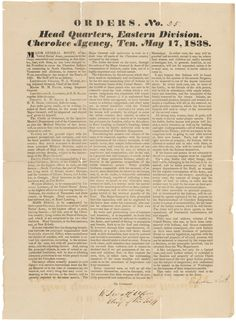 Major General Winfield Scott's Order No. 25 Regarding the Removal of Cherokee Indians to the West, 05/17/1838  Following the Indian Removal Act and the controversial New Echota Treaty,the Cherokee Nation agreed to exchange their lands in the southeast for lands in IndianTerritory(present day Oklahoma) in a move to be completed within 2