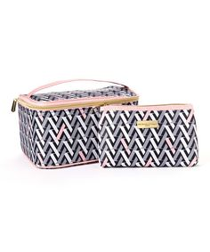 Love this Two-Piece Light Pink & Gray Geometric Cosmetic Bag Set by Adrienne Vittadini Studio on #zulily! #zulilyfinds