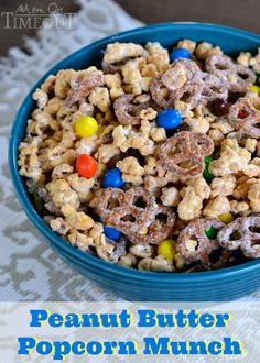 Peanut Butter Popcorn Munch is an incredibly delicious way to get your snack on whether it's for a game day celebration or family movie night. | MomOnTimeout.com | #recipe