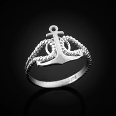 Available in & gold purity. Top width: Bottom band width: Weight: 2 g. g Finish: polished. Anchor Rings, White Gold Rings, Band Rings, Heart Ring, Engagement Rings, Sterling Silver, Unique Jewelry, Ladies White, Top