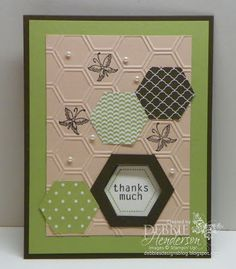 Stampin' Up! Six-sided Sampler, Honeycomb Embossing Folder & Hexagon Punch by Debbie Henderson, Debbie's Designs. Tutorial on how to create a hexagon frame on my blog!