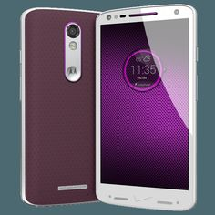 Droid Turbo 2 new model with 64gb hard drive + black/champagne metal frame + cabernet soft grip + metallic violet accent