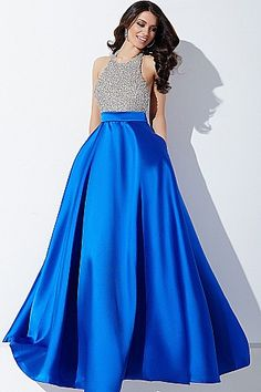 Royal and Silver Halter Ballgown Prom Dress #29160