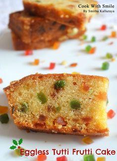 EGGLESS TUTTI FRUTTI CAKE RECIPE / EGGLESS VANILLA SPONGE CAKE | Cook With Smile