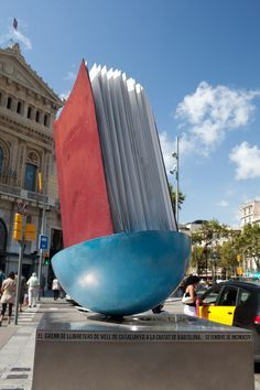 Giant book sculpture near Passeig de Gracia in Barcelona_Spain