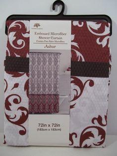 "Embossed Microfiber Shower Curtain 72"" X 72"" ASHUR Red/White by Victoria Classic #VictoriaClassics #FabricShowerCurtain"