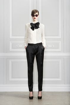 White Blouse With Black Bow