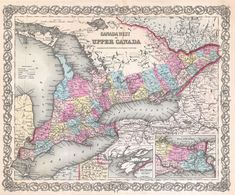 1855 Colton Map of Canada West or Upper Canada (later Ontario) Century, Canada, North America, United Kingdom) Vintage Maps, Vintage Wall Art, Antique Maps, Canada Toronto, Canada North, International Map, Map Painting, Canadian History, Old Maps
