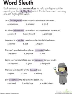 Worksheets: Context Clues: Word Sleuth Third Grade