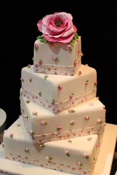 Square cake with tiny roses. I love this cake, it's so lovely. Beautiful Wedding Cakes, Gorgeous Cakes, Pretty Cakes, Cute Cakes, Amazing Cakes, Take The Cake, Love Cake, Fondant Cakes, Cupcake Cakes