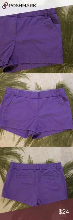 """J. Crew Purple Broken Chino Shorts Size 8 Brand: J. Crew Size: 8 Description: Broken in chinos; hook and eye with zipper closure Condition: Very Good **Size tags vary, check measurements** Waist: 34"""" Hip: 39"""" Rise: 9"""" Inseam: 3"""" If more measurements are needed, please don't hesitate to ask! Bundle Discount Available! Reasonable offers welcome! No trades please.. Thanks for stopping by!! #Poshmark #Poshmarkapp #Poshmarkcloset Item #2056 J. Crew Shorts"""