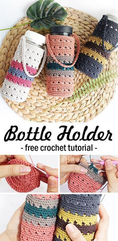 Learn how to crochet this bottle holder / cozy. Bottle Tumbler Holder Crochet Learn how to crochet t Crochet Gifts, Crochet Yarn, Crochet Stitches, Free Crochet, Crochet Things, Crotchet, Diy Yarn Holder, Knitting Patterns, Crochet Patterns