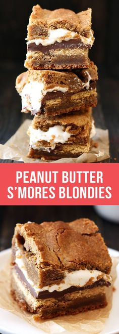 Peanut Butter S'mores Blondies have a layer of graham cracker, Hershey's chocolate bars, and marshmallow fluff stuffed between two layers of chewy peanut butter butterscotch blondies.