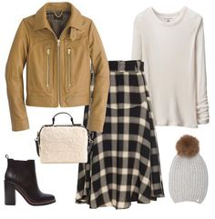 Love this skirt!! #OutfitInspo #FallFashion #Leather #Plaid #booties #beanies #TheZoeReport #RP
