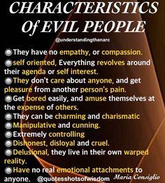 Characteristics of Evil People Narcissistic People, Narcissistic Behavior, Narcissistic Abuse Recovery, Narcissistic Sociopath, Narcissistic Personality Disorder, Sociopath Traits, Narcissistic Sister, Trauma, Ptsd