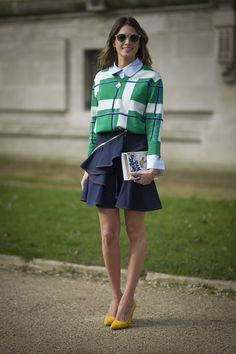 Helena Bordon's in a refreshing school-girl inspired look. #Streetstyle at Paris Fashion Week #PFW