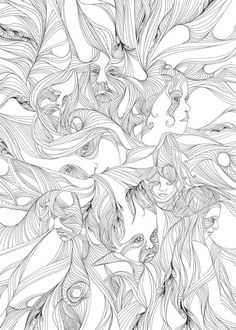 Drawings by Susann Greuel. Beautiful use of repeated lines that creates movement and rhythm.