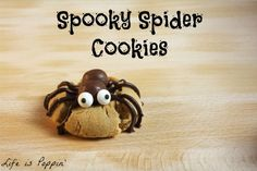 Halloween will be here before we know it, and I had more fun than any normal Mom with no children home should have making these perfectly adorable little peanut butter and chocolate spider cookies! Halloween Baking, Halloween Goodies, Halloween Treats, Halloween Party, Halloween Spider, Holiday Desserts, Holiday Treats, Holiday Recipes, Holiday Cookies