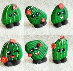 30 Best Cactus Painted Rocks Ideas - All About Gardens Cactus Painting, Plant Painting, Pebble Painting, Pebble Art, Stone Painting, Painting Art, Rock Painting Patterns, Rock Painting Ideas Easy, Rock Painting Designs